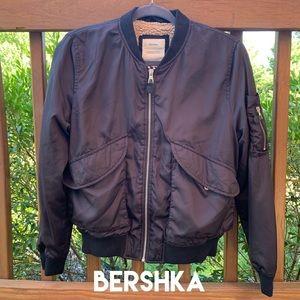 Bershka Jackets & Coats - Bershka Black Bomber Jacket with Sherpa